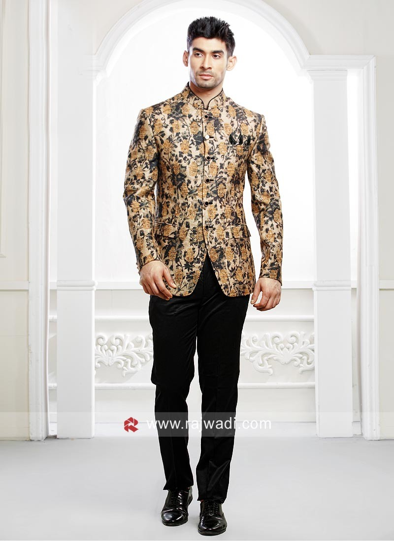 Attractive Cream Color Jodhpuri Suit