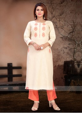 Attractive Cream & Orange Color Kurta Set