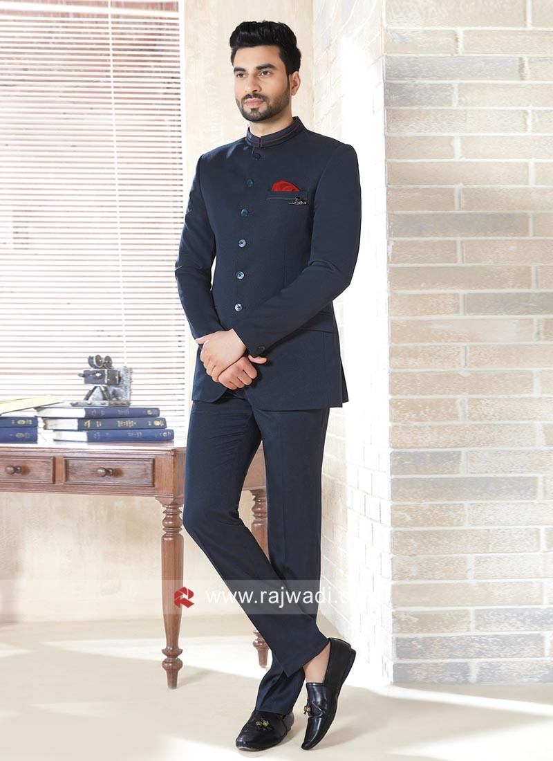 Attractive Dark Blue Color Jodhpuri Suit