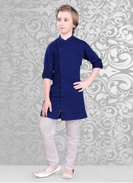 Attractive Dark Blue Color Kurta With Off White Bottom