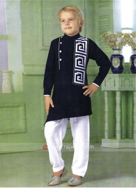 Attractive Dark Blue Color Pathani Suit