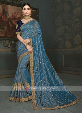 Attractive Dark Grey Color Saree