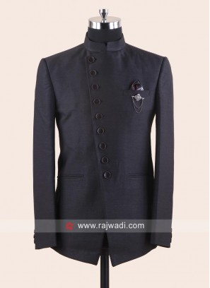 Attractive Dark Grey Jodhpuri Suit