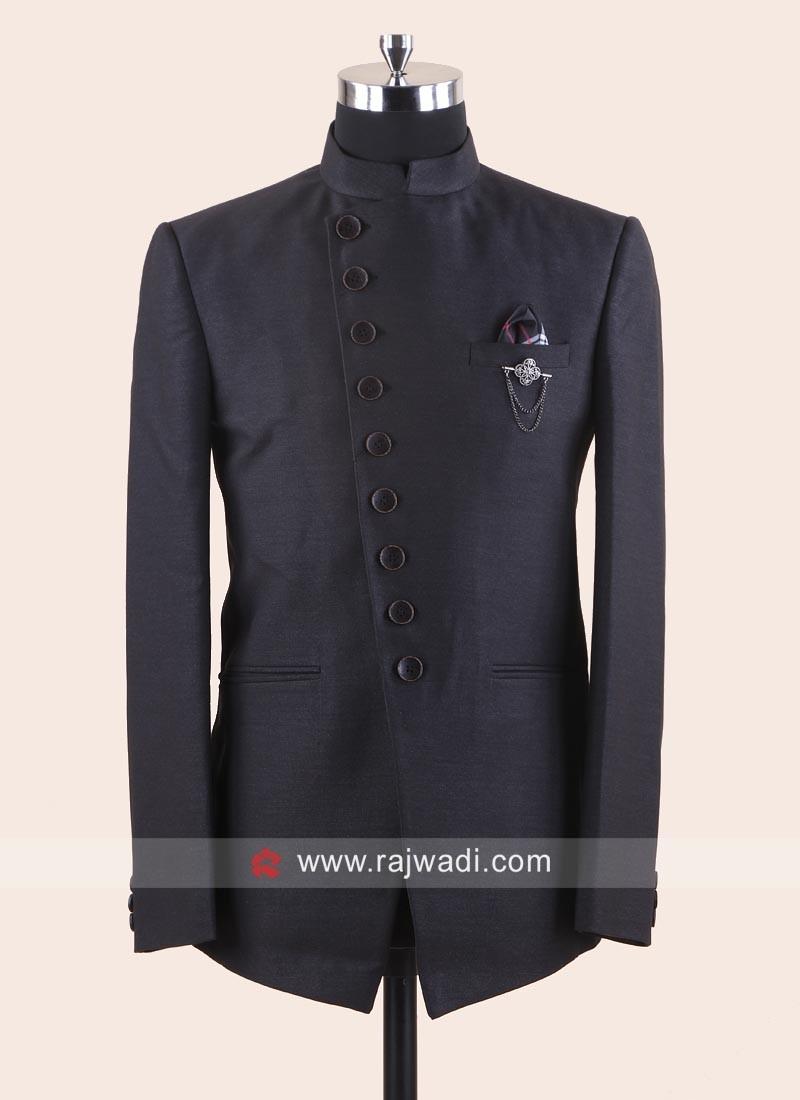 Attractive Dark Grey Jodhpuri Suit