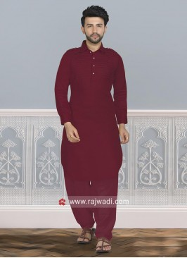 Attractive Maroon Pathani Set