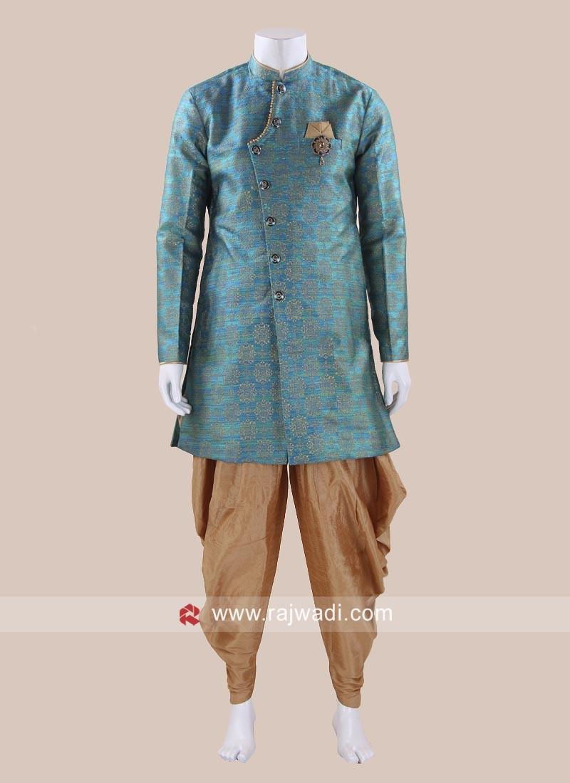 Attractive Peacock Blue Color Patiala Suit