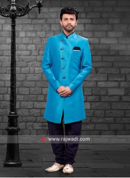 Attractive Deep Sky Blue Indo Western