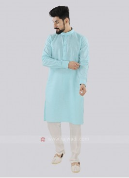 Attractive Firozi And Off White Kurta Set