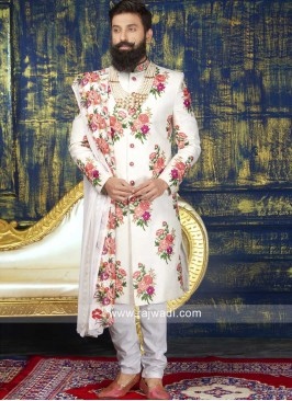 Attractive Flower Print Sherwani With Dupatta