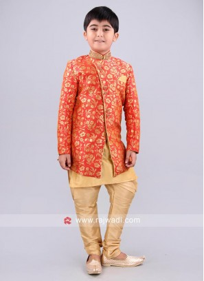 Attractive Golden and Crimson Indo Western Sherwani