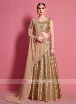 Attractive Golden Color Lehenga Choli