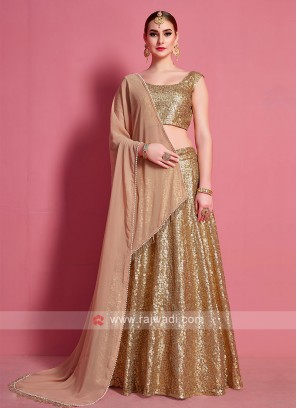 Attractive Golden Color Lehenga Choli