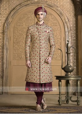 Attractive Golden Cream Sherwani
