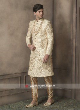Attractive Golden Cream Zari Work Sherwani