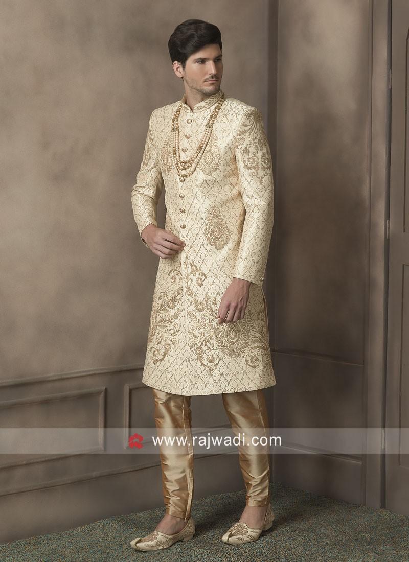 Attractive Golden Cream Zari Work Sherwani