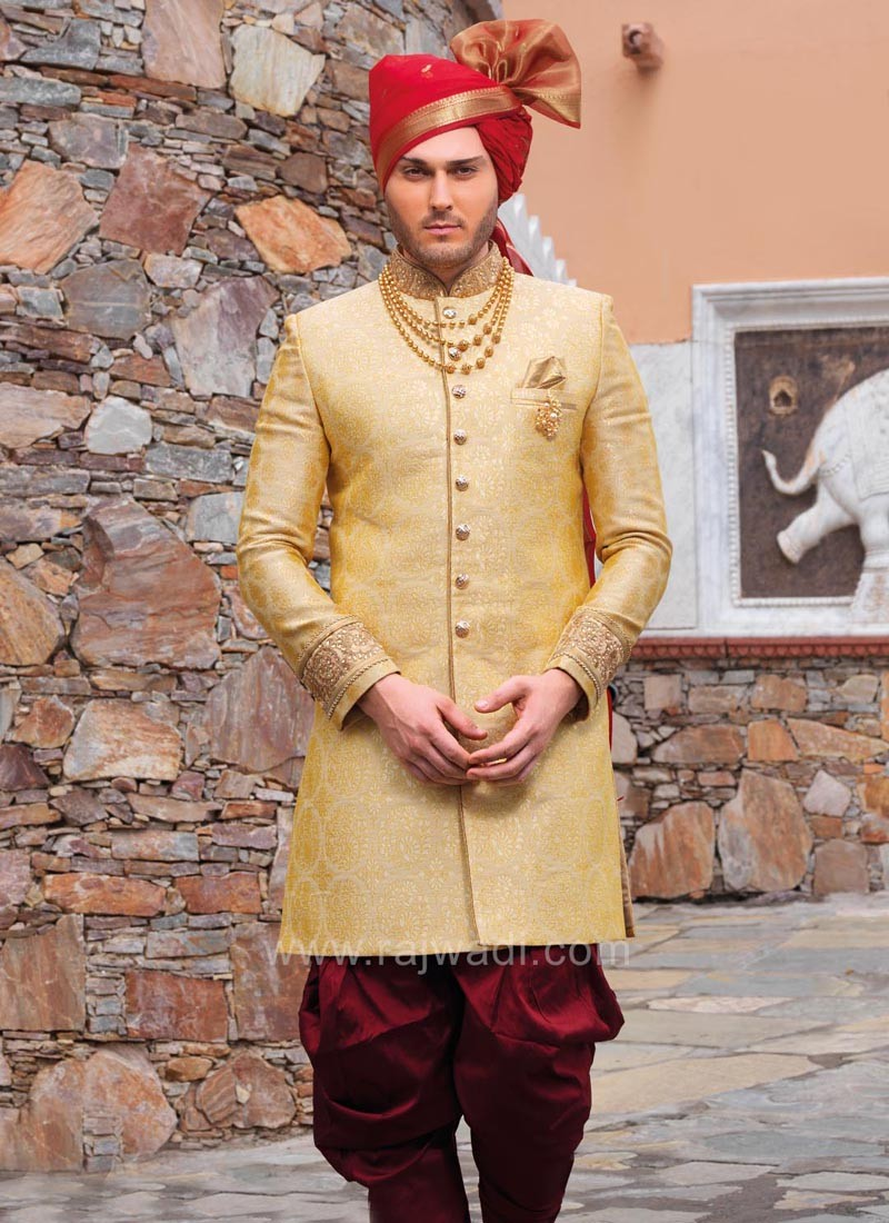 Attractive Golden Yellow Color Indo Western