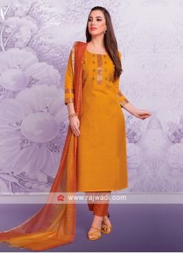Attractive Golden Yellow Trouser Suit