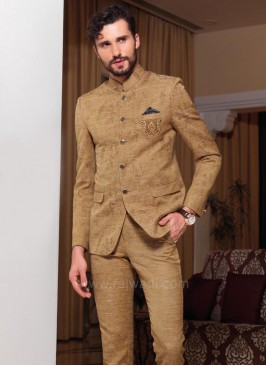 Attractive Goldenrod Color Jodhpuri Suit