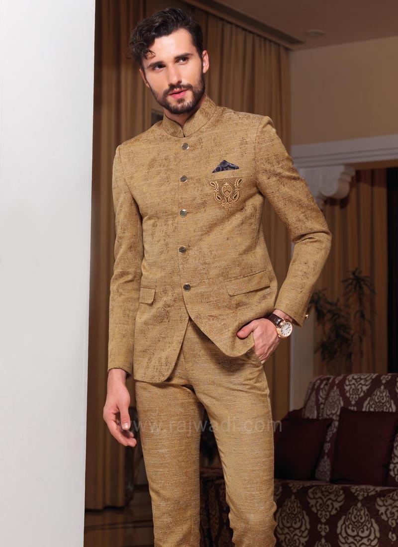 Attractive Goldenrod Color Jodhpuri Suit
