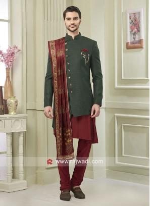 Attractive Green and Maroon Indo Western