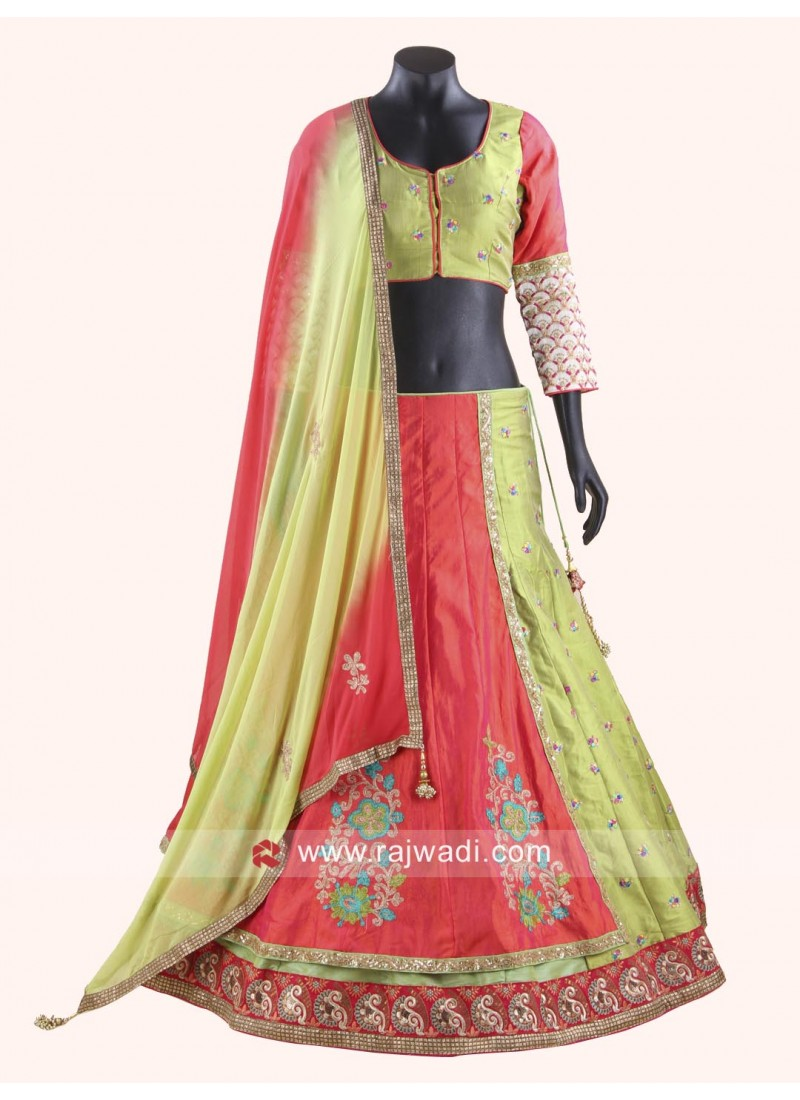 Attractive Green and Pink Coloured Lehenga Choli