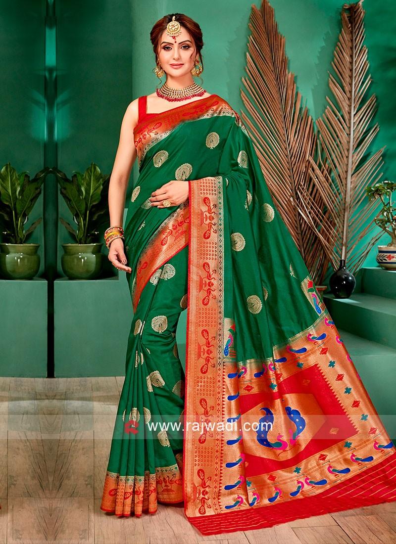Attractive Green And Red Color Banarasi Silk Saree