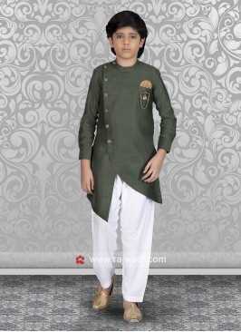Attractive Green Color Pathani Suit