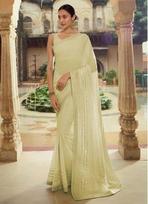 Attractive Green Sequins Classic Designer Saree