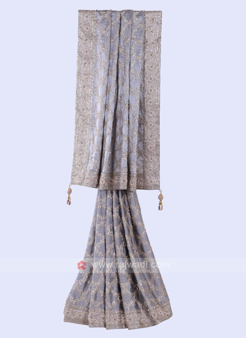Attractive Grey Color Saree