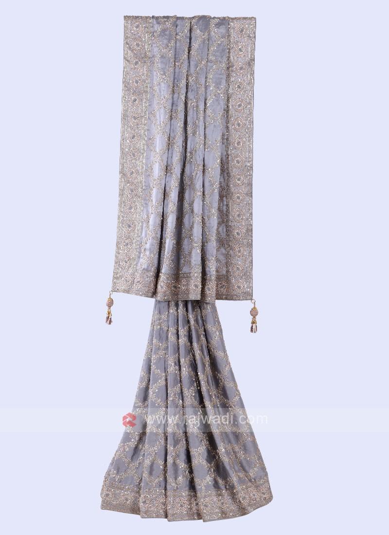 Attractive Grey Color Saree