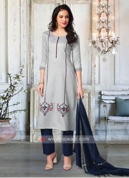 Attractive Grey & Navy Salwar Suit