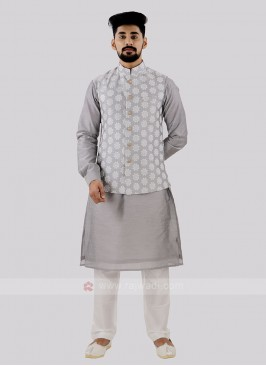 Attractive Grey & Off White Koti Set
