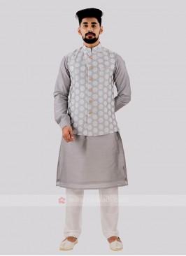 Attractive Grey & Off White Nehru Jacket Set