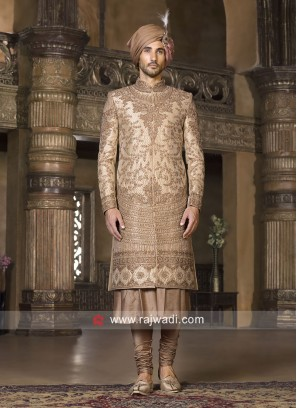 Attractive Groom Golden Sherwani