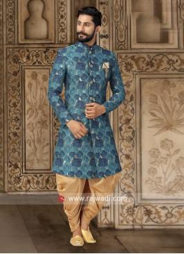 Peacock Blue Printed Patiala Suit