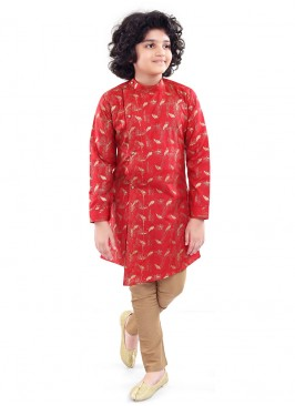 Attractive Kurta Pajama In Red And White Color