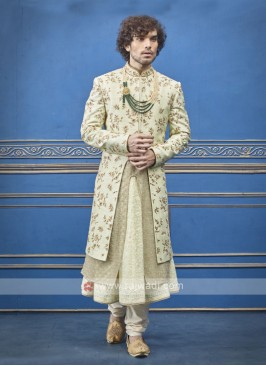 attractive layer style pista green sherwani
