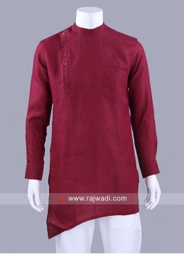 Attractive Layered Kurta In Linen Fabric