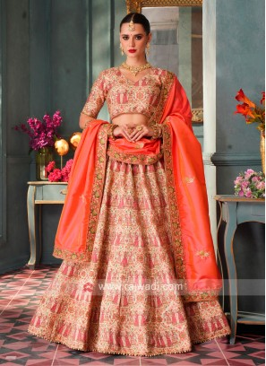 Attractive Lehenga Choli In Peach & Cream