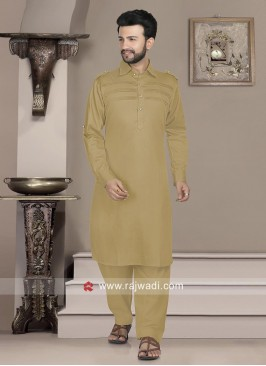 Attractive Light Brown color Pathani Set