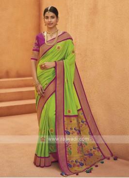 Attractive Light Green Artsilk saree
