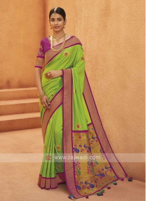 Attractive Light Green Artsilk saree