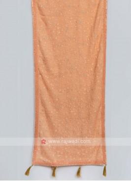 Attractive Light Orange Color Dupatta For Sherwani