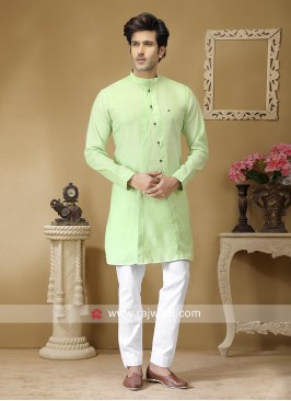 Attractive Light Pista Kurta Set