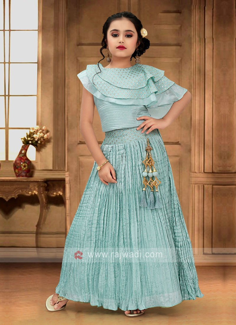 Attractive Light Teal Color Choli Suit For Girls