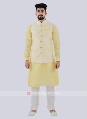 Attractive Light Yellow Color Nehru Jacket Suit