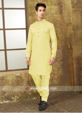 Attractive Light Yellow Pathani Suit