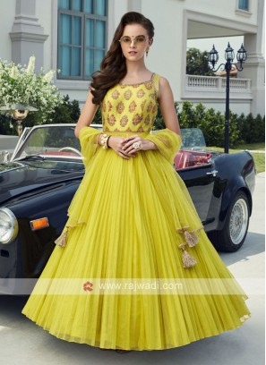 Attractive Lime Color Anarkali Dress
