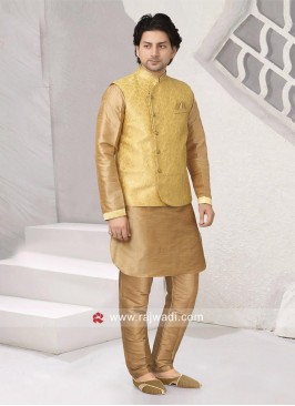 Attractive Brocade Silk Nehru Jacket For Wedding