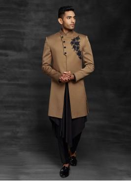 Attractive Look Indowestern In Brown Color